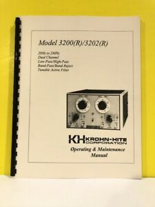 Krohn hite Solid State Variable Filter 3200 r 3202 r Ops maintenance Manual