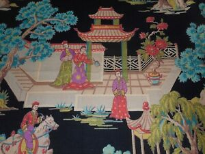 Vintage Chinoiserie Scenic Figural Pagoda Floral Barkcloth Fabric Black Coral