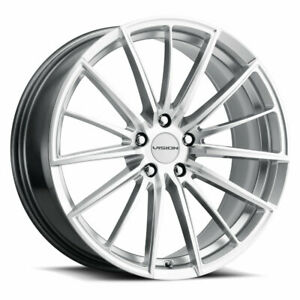 17x8 Vision 473 Axis 5x114 3 Et38 Hyper Silver Machined Face Rims Set Of 4