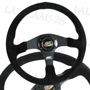 14 Mugen Racing Style Black Stitching Suede Sport Steering Wheel W Horn Button