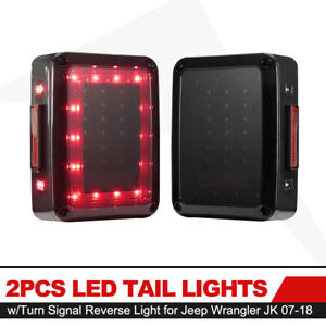 2pcs Smoked Led Tail Lights Turn Signal Brake Light For Jeep Wrangler Jk 07 18