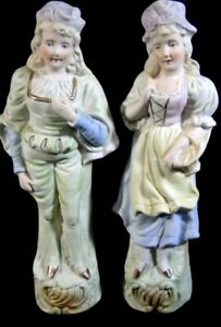 Vintage Pair Bisque German Man Woman 9 Figurine X2