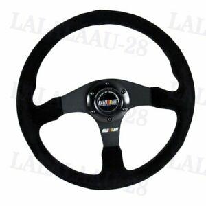 14 Ralliart Racing Black Stitching Suede Sport Steering Wheel W Horn Button New