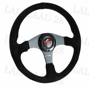 14 Trd Racing Style Black Stitching Suede Sport Steering Wheel W Horn Button
