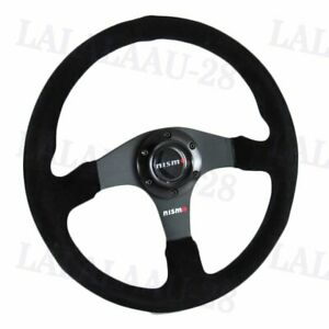 14 Nismo Racing Style Black Stitching Suede Sport Steering Wheel W Horn Button