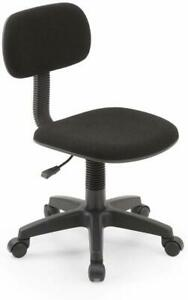Armless Task Chair Computer Desk Swivel Chair Office Kid Used Black Padded Back