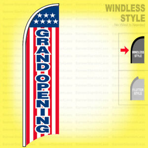 Grand Opening Windless Swooper Flag 11 5 Ft Feather Banner Sign Stars Stripes Wb
