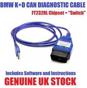 Bmw Inpa K D Can Cable Ftdi Ft232rl Chip With Switch Software Uk Seller