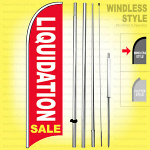 Liquidation Sale Windless Swooper Flag Kit 15 Feather Banner Sign Rb h