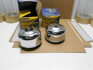 2 Nos 1950s California Custom Chrome Air Cleaners 41320 Cal Custom Stromberg 97