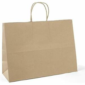 16x6x12 Inches 100pc Kraft Paper Bags With Handles Bulk Brown Shopping Grocery