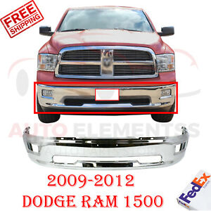 Front Bumper Chrome Steel W Fog Holes For 2009 2012 Dodge Ram 1500