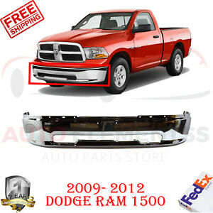 Front Bumper Chrome Steel W o Flare Holes For 2009 2012 Dodge Ram 1500