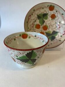 Antique Pearlware English Staffordshire Soft Paste Strawberry Cup