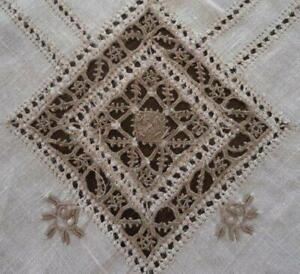 Vintage Linen Tablecloth Reticella Needle Lace Cutwork Embroidery 99