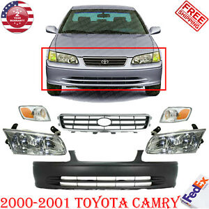 Front Bumper Cover Grille Head Corner Lights For 2000 2001 Toyota Camry
