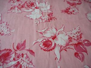 Antique Vintage Orchid Lilac Floral Cotton Fabric Pink Red