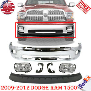 Front Chrome Steel Bumper Valance Fogs For 2009 2012 Dodge Ram 1500