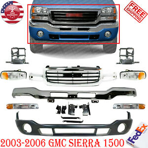 Front Bumper W Brackets Valance Grille Lights For 03 2006 Gmc Sierra 1500