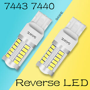 2 X Sawe Super White Canbus 7443 7440 5630 33smd Led Back Up Reverse Light Bulbs
