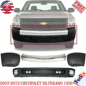 Front Bumper Chrome Ends Lower Valance For 2007 2013 Chevy Silverado 1500