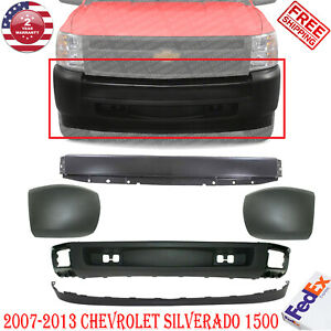 Front Bumper Primed Textured End Caps Valance For 07 2013 Chevy Silverado 1500