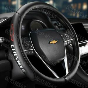 15 Diameter Car Auto Steering Wheel Cover Genuine Leather Chevrolet Chevy Red
