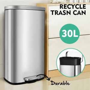 8 Gallon 30l Trash Can garbage Bin With Lid And Inner Bucket For Kitchen Office