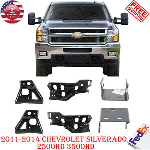 Front Bumper Bracket Outer Inner Rh Lh Side For 2011 2014 Chevy Silverado Hd