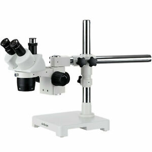 Amscope 20x 40x Trinocular Stereo Microscope Single Arm Boom Stand Image Port