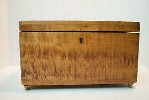 Antique 1850s Document Box Curly Tiger Maple Solid Wood Footed Keepsake Box