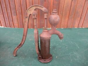 Vintage Cast Iron Hand Brass Cylinder Water Pump Good Condition 17 High