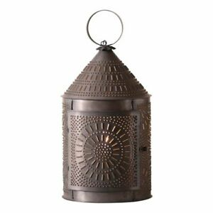 Large Fireside Punched Tin Accent Lantern Light In Kettle Black