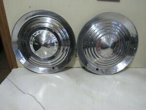 Vintage Pair Of 1952 1953 Pontiac Chieftain Hubcaps