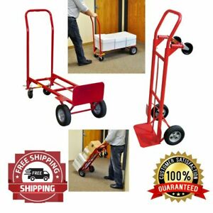 Hand Cart Truck Push Trolley Luggage Warehouse Moving Convertible 2 in 1 600 Lb