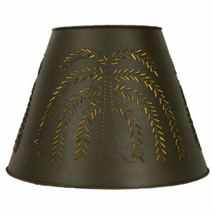 New Large Punched Willow Lamp Shade In Dark Brown Tin