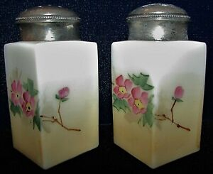 Antique Opaque White Glass Salt Pepper Shakers Hand Painted Floral Silverplate