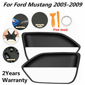 Leather Door Panel Insert Cards Cover For Ford Mustang 2005 2009 Black 1 Set