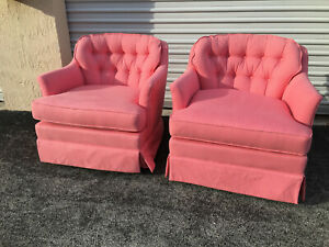 Vintage Mid Century Pair Of Pink Swivel Drum Arm Chairs