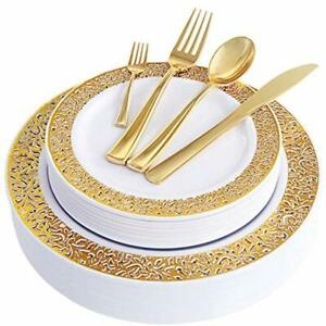 Wdf 150pcs Gold Plastic Plates With Disposable Silverware lace Design Tableware