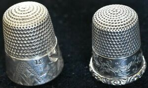 2 Antique Sterling Thimbles Simons Usa