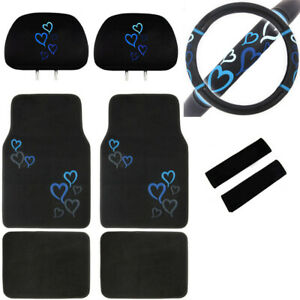 9pc Blue Hearts Car Truck Suv Floor Mats Steering Wheel Cover Headrest Covers