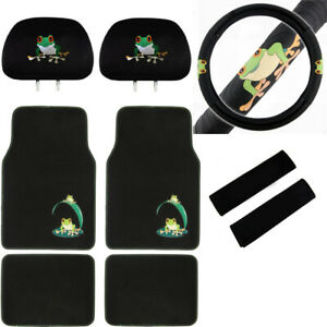 9pc Green Tree Frog Car Truck Suv Floor Mats Steering Wheel Cover Headrest Cover