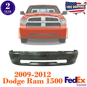 Front Bumper Primed Steel W o Fl Holes For 2009 2012 Dodge Ram 1500