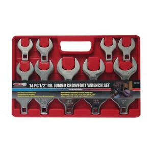 1 2 In Drive Sae Jumbo Crowfoot Wrench Set 14 piece Wratchet Drive Tools New