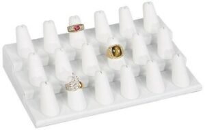 18 Finger Ring Display White Faux Leather Pawn Shop Jewelry Display