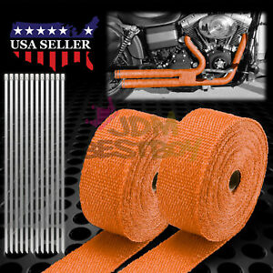 2 Roll X 2 50ft Orange Exhaust Thermal Wrap Manifold Header Isolation Heat Tape