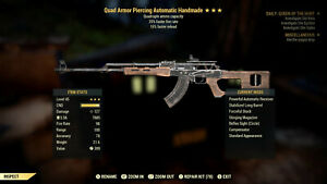 Quad Faster Fire Faster Reload Handmade Best PVP Wep in game Fallout 76 xbox $225.00