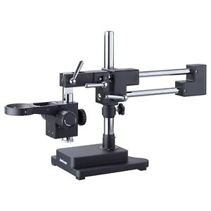 Amscope Heavy Duty Double arm Black Boom Stand W 76mm Focus Block Tube Mount