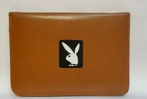 Vintage Leather Padfolio Playboy Bunny Organizer Portfolio Usa Brown Zippered
